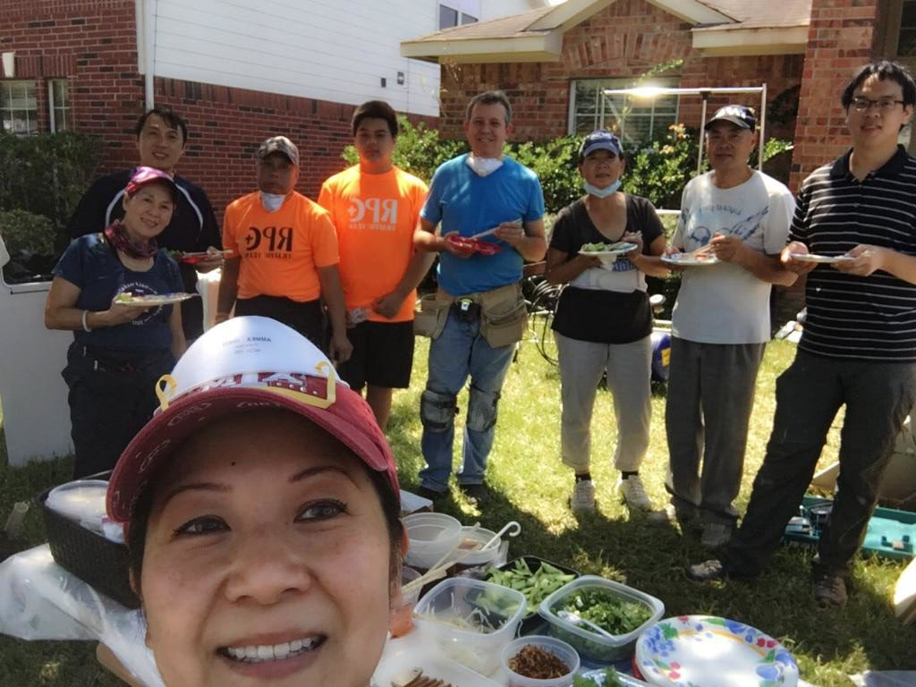 Family and friends help with the rebuild process on our family home. September 2017.